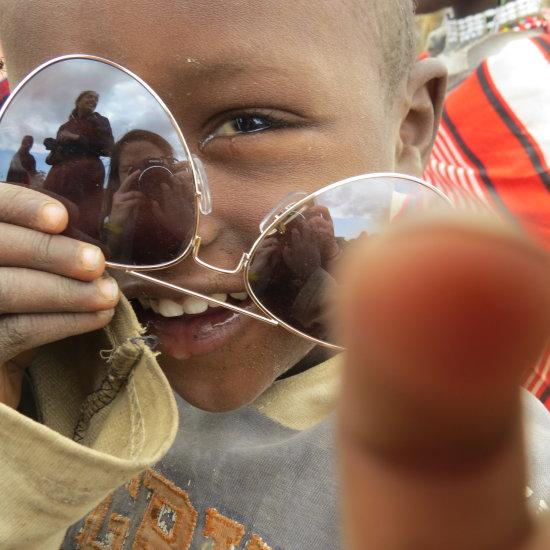 A playful Maasai child