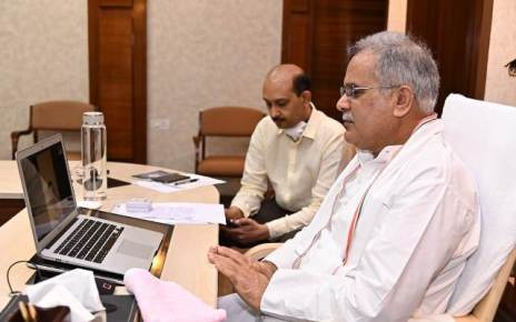 cm-bhupesh-baghel-video-conf-quarntine-center