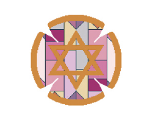 Geometric Yarmulke Purple/Red