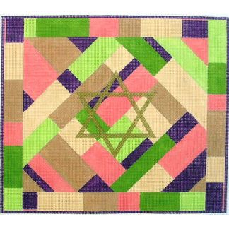 Star of David in pink and green Tallit