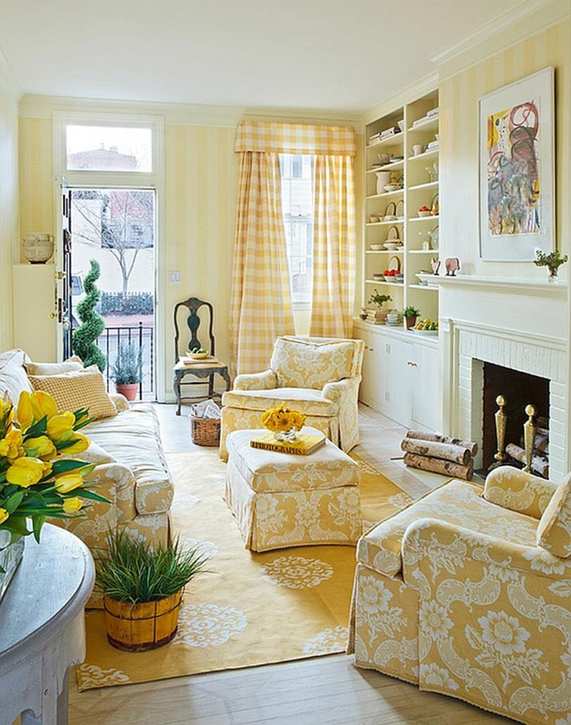 Yellow Cottage Living Room Decorating Ideas 33