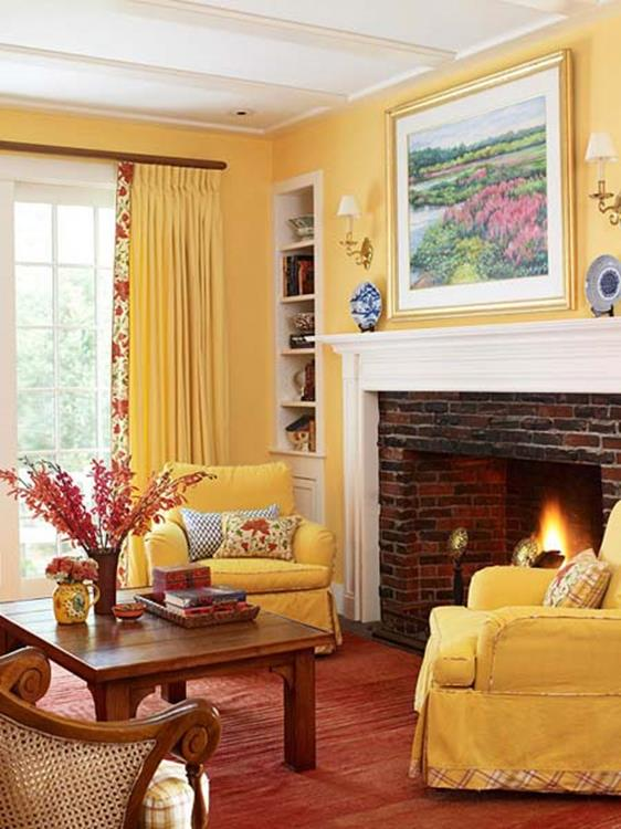 Yellow Cottage Living Room Decorating Ideas 35