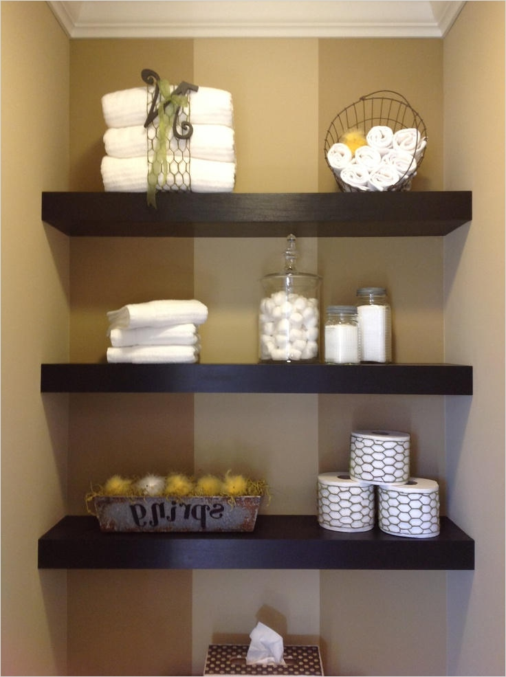 Bathroom Shelves Decorating Ideas 21 Brown Bathroom Floating Shelves Brightpulse 4
