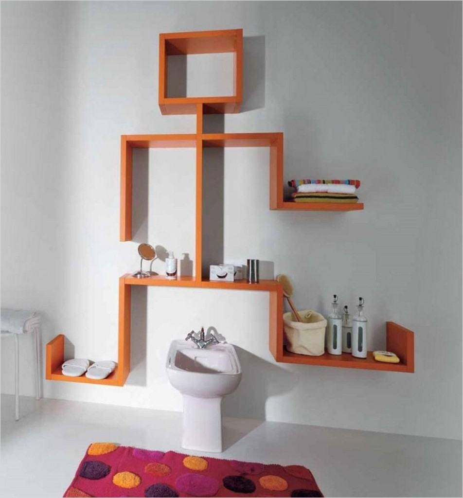 Bathroom Shelves Decorating Ideas 94 Floating Wall Shelves Design Ideas Unique Wall Mounted Shelves orange High Gloss Color with 5