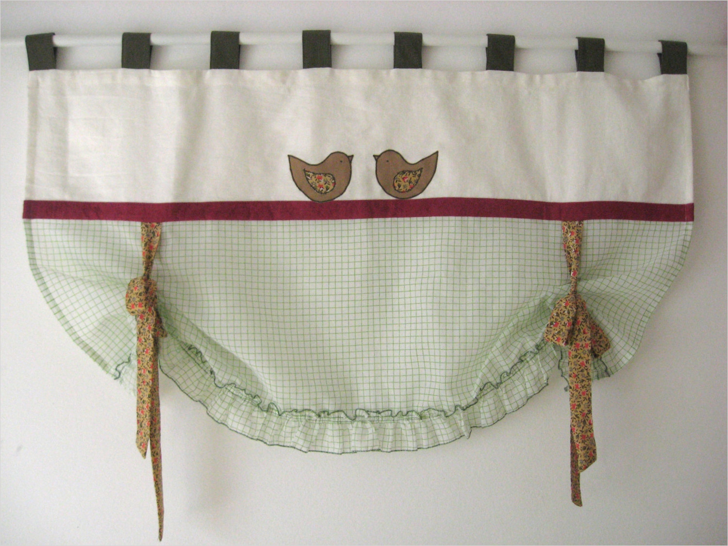 41 Perfect Farmhouse Country Kitchen Curtain Valances 18 White Linen Farmhouse Tie Up Valance Bird Window Treatment 1
