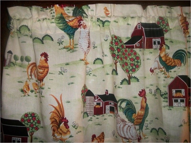 41 Perfect Farmhouse Country Kitchen Curtain Valances 11 Rooster Chicken Farm Barn Country Kitchen Fabric Window Curtain topper Valance 9