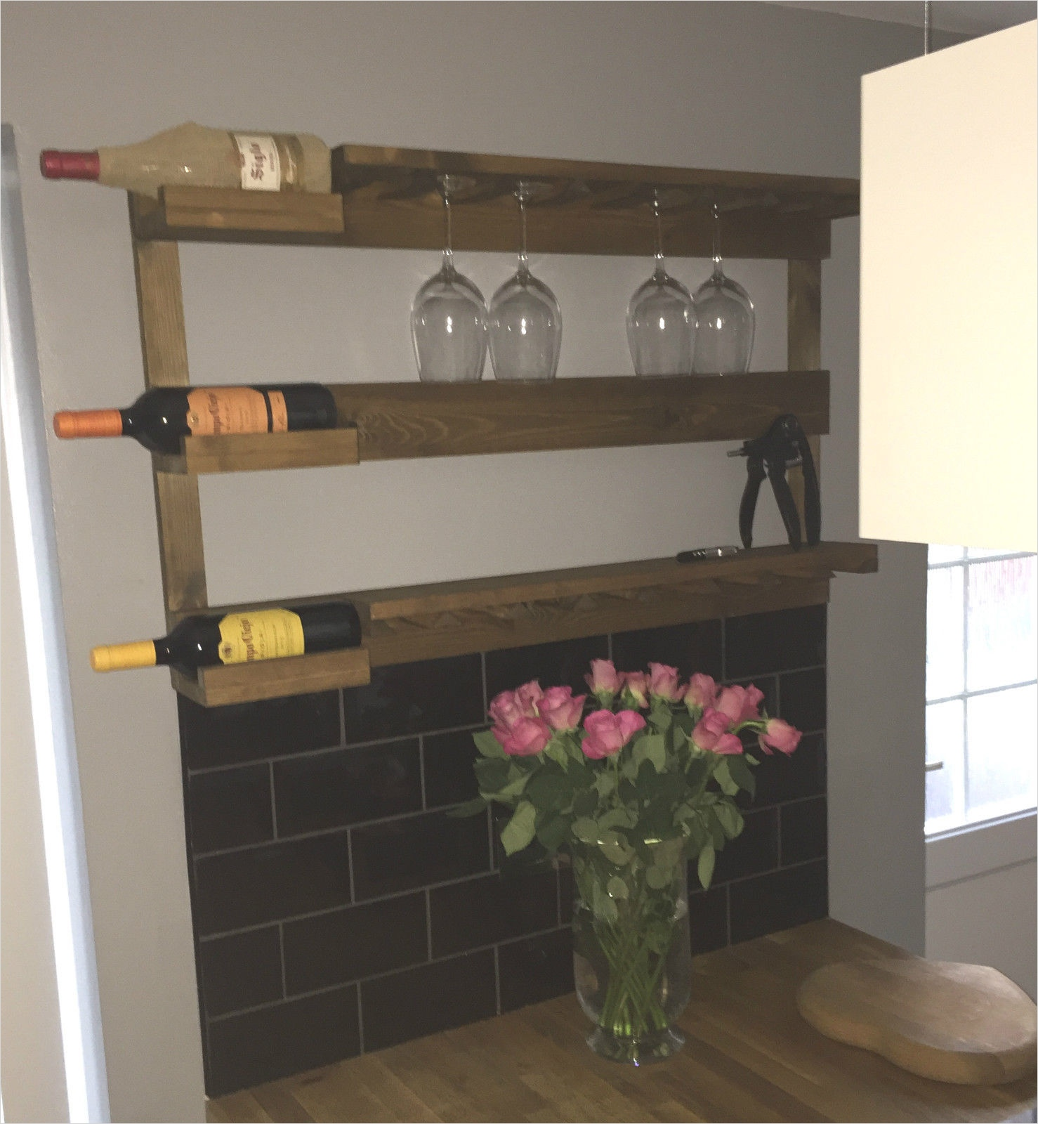 45 Creative Rustic Wall Mounted Bookshelves 66 Rustic Stained Wall Mounted Wine Rack with Shelves Choice Of Colours Vino Gift 9