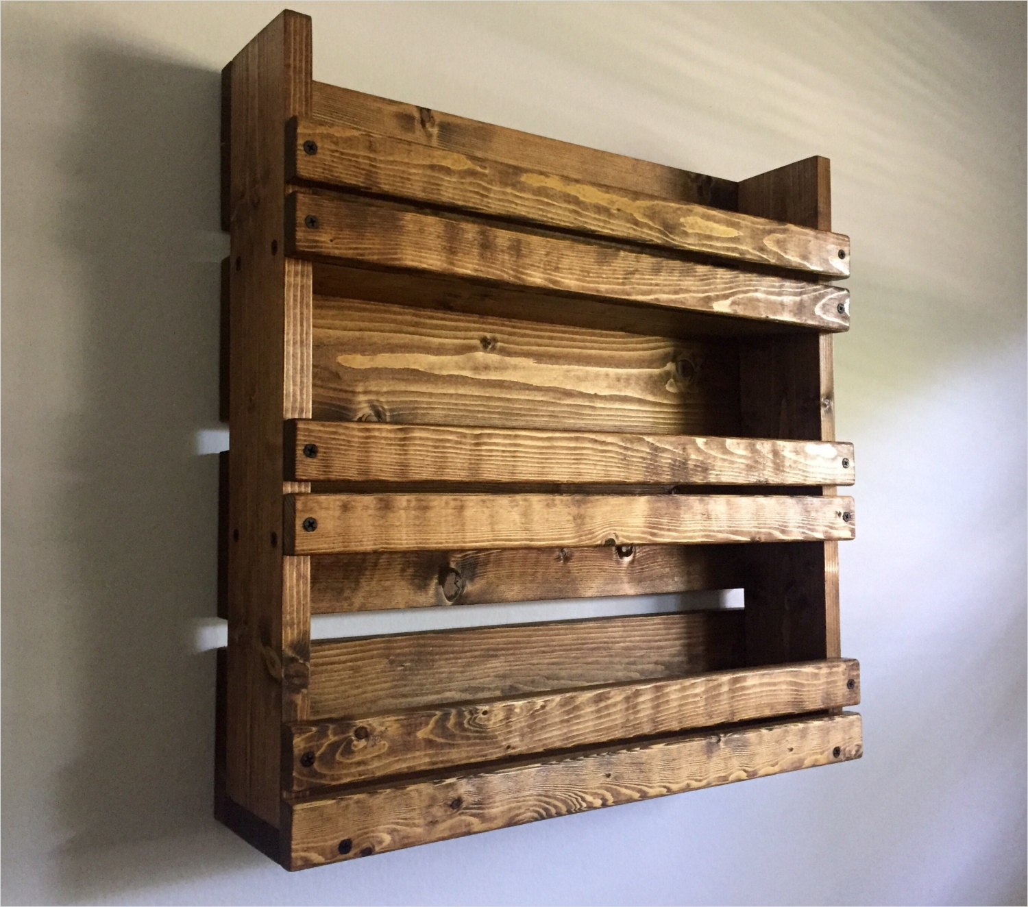 45 Creative Rustic Wall Mounted Bookshelves 17 Spice Rack Rustic Spice Rack with 3 Shelves by Blackironworks 1