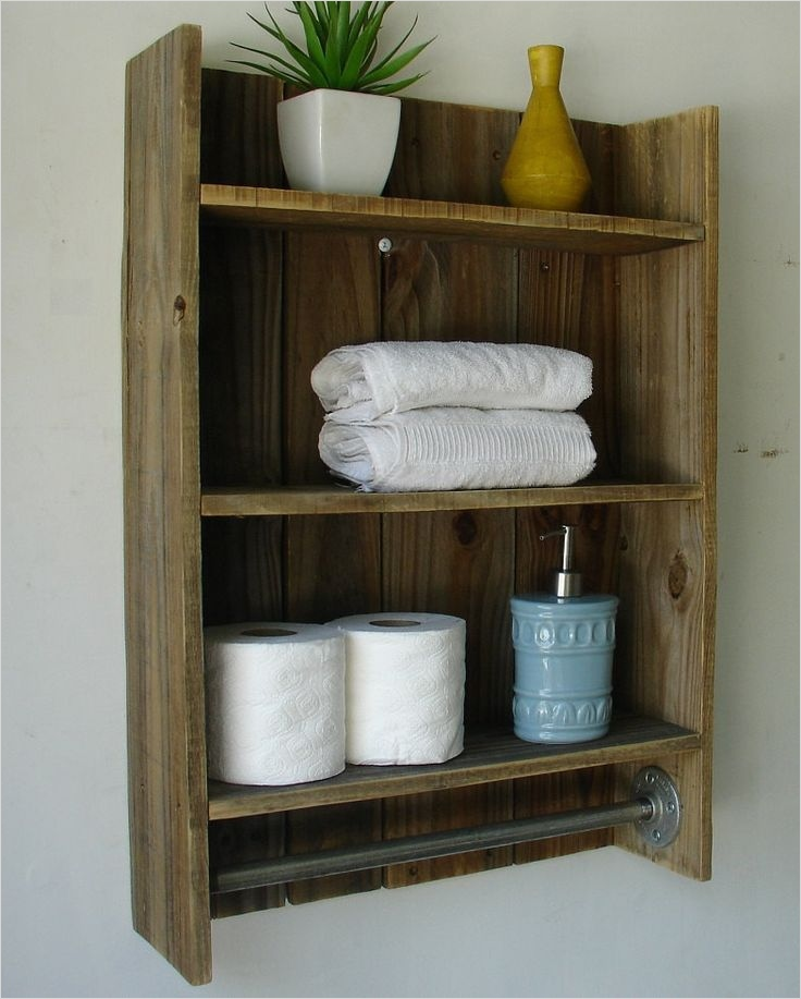 44 Creative Ideas Rustic Bathroom Walls Shelf 32 Rustic Reclaimed Wood 3tier Bathroom Shelf with towel by Keodecor $100 00 5