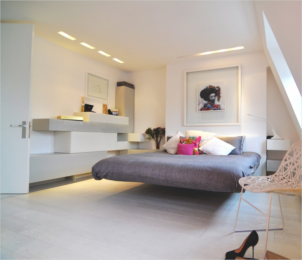 41 Perfect Shelf Decor Ideas Grey Bedrooms 52 Futuristic Grey Bedroom Floating Bed and White Wall Shelves Decor Idea Bedroom 9
