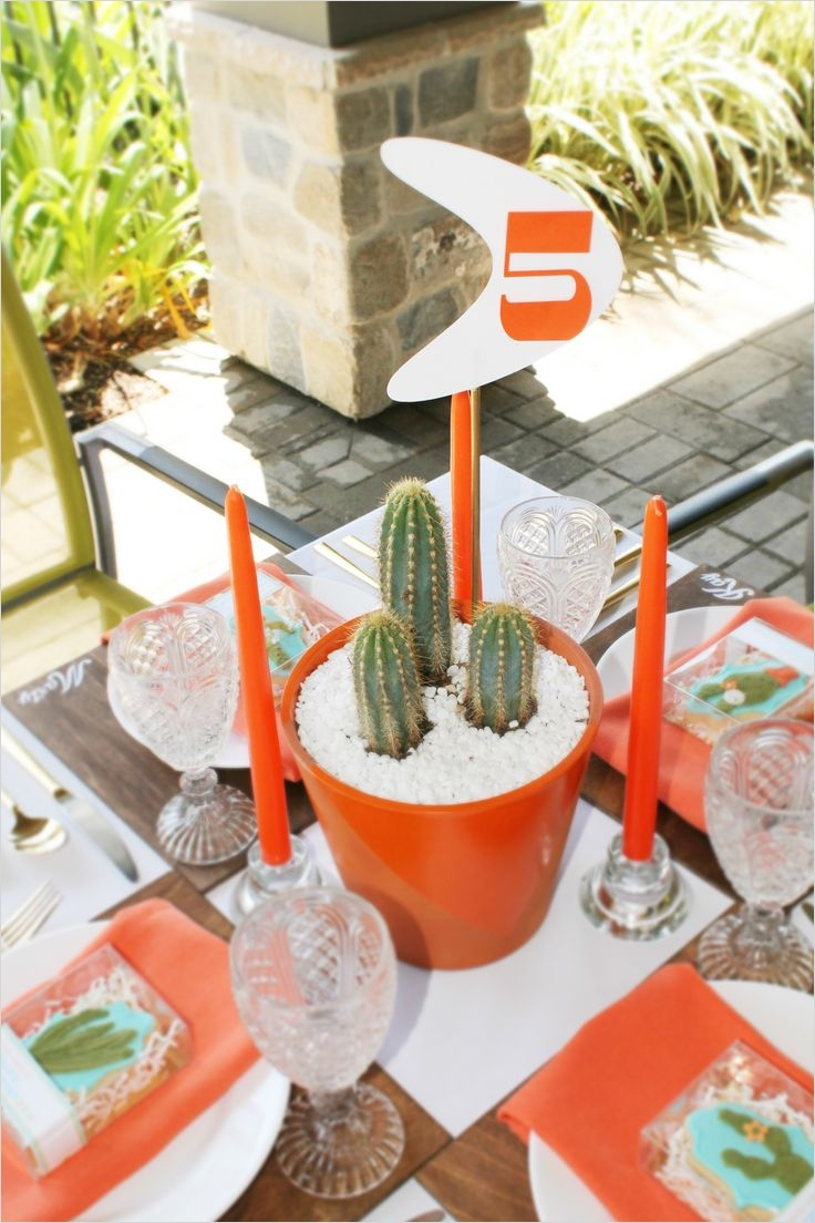 43 Beautiful Cactus Centerpiece Ideas 44 orange themed Table with Modern Cactus Centerpieces and Table Number Diy 6