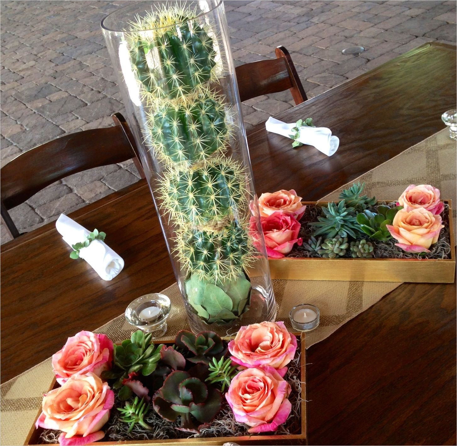 43 Beautiful Cactus Centerpiece Ideas 43 Desert Centerpieces Barrel Cacti Succulents and Big Fun Roses and Eucalyptus Napkin Wraps 8