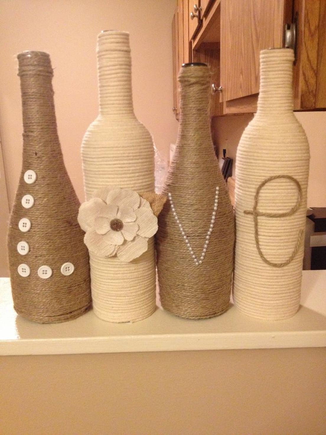 46 DIY Simple but Beautiful Wine Bottle Decor Ideas 18