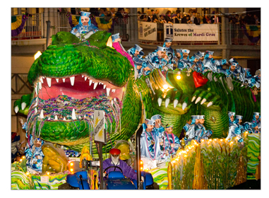 Bacchagator Mardi Gras float