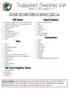 Operation Christmas Child Shopping List