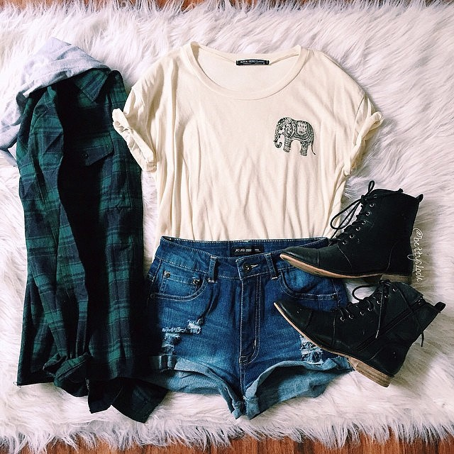绿色格子衬衫+小象白T-Shirt