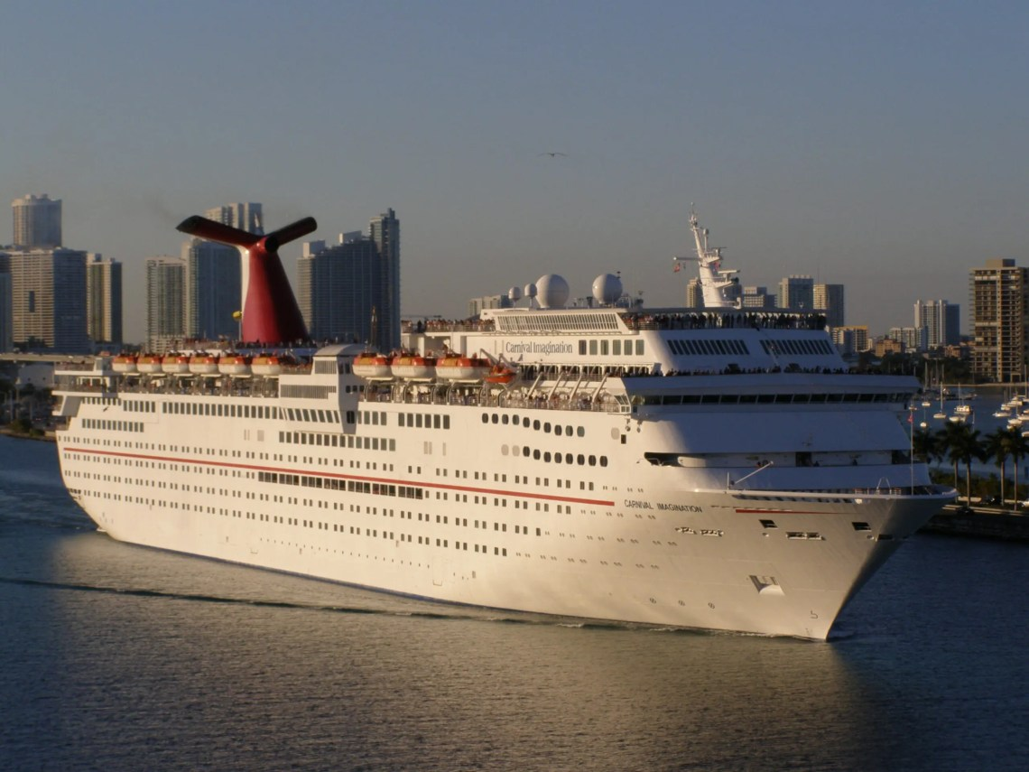 The Carnival Imagination departing Miami on December 17, 2010.