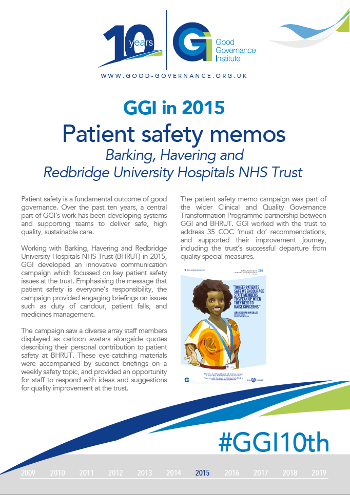 GGI in 2015 - Patient Safety Memos