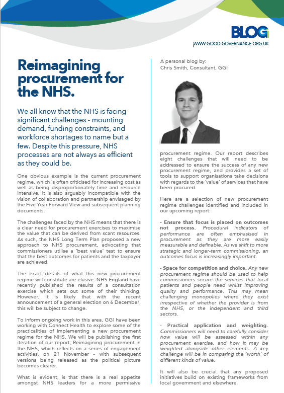Reimagining procurement for the NHS