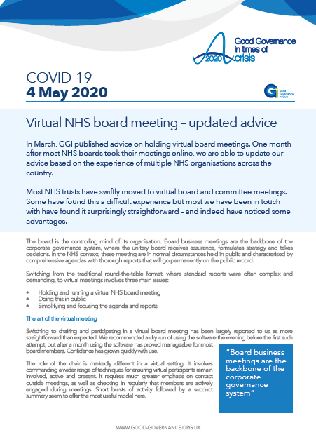 Virtual NHS board meeting – updated advice
