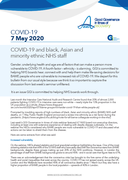 COVID-19 and black, Asian and minority ethnic NHS staff