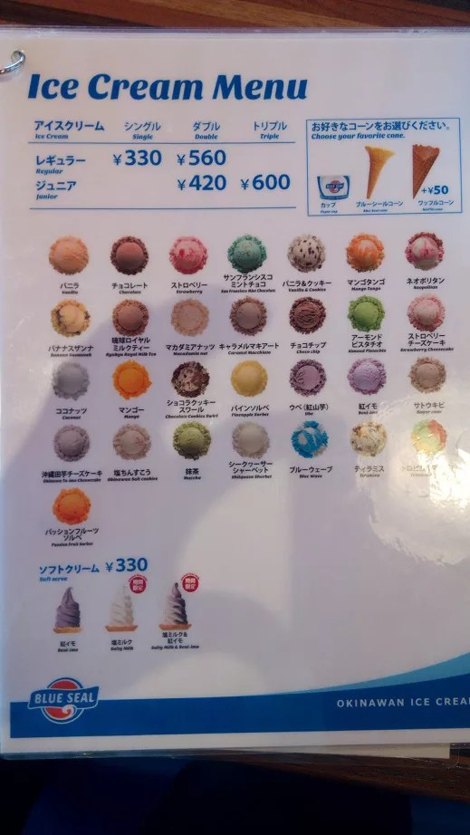 Blue Seal ice cream menu