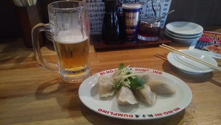 water dumpling and cold beer