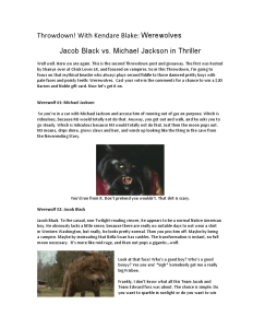 Throwdown! With Kendare Blake: Werewolves Jacob Black vs. Michael Jackson in Thriller