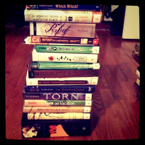 Tower of books, readathon stack, dewey readathon books