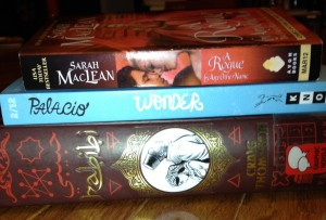 In My Mailbox, 3 books, Habibi, Wonder, A Rogue By Any Other Name