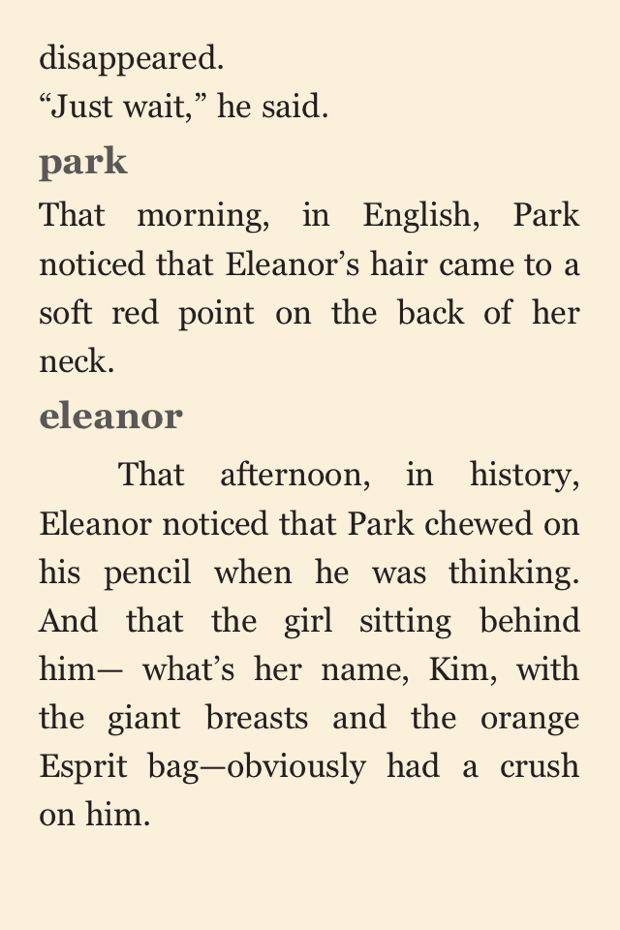 Eleanor and Park Screenshot iPhone | Good Books And Good Wine