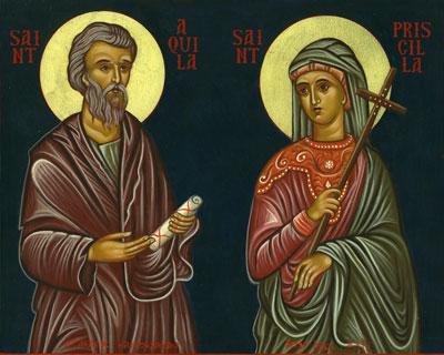 Saint Aquila with his wife, Saint Priscilla