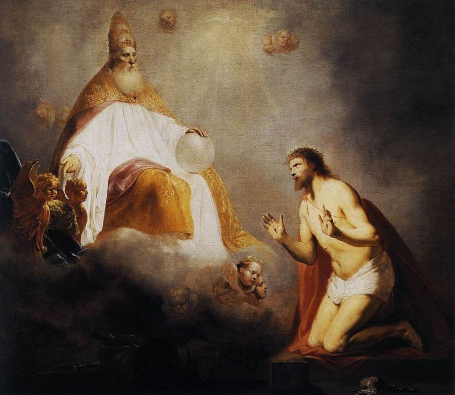 God Inviting Christ to Sit on the Throne at His Right Hand (1645) by Pieter de Grebber