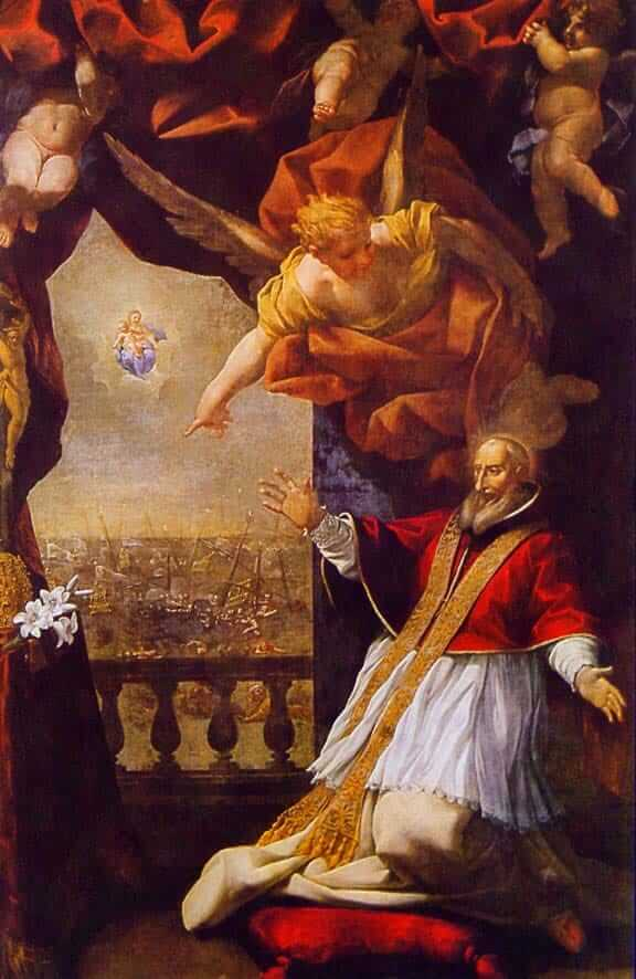 Pope Pius V's Vision of the Victory at Lepanto by Lazzaro Baldi