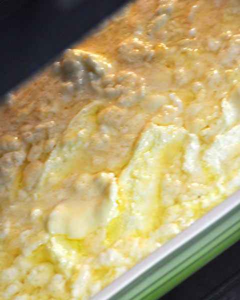 continue scraping and stirring scramble egg bake