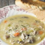 Chicken and Rice Harvest Soup- A velvety chicken soup with veggies, mushrooms and rice. So filling and flavorful!
