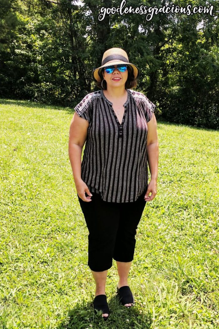 Plus Size Lucky Brand Blouse with Black Capris and Steve Madden Slides