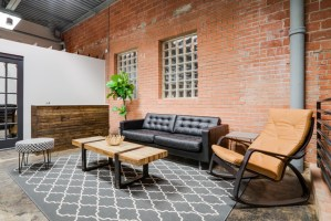 Interior design of a waiting room at a shared office space