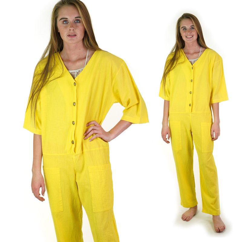 Yellow Cotton Boxy Jumpsuit with Pockets