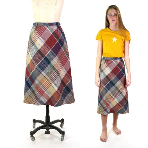 Vintage 70s Plaid Wool Handmade A-Line Skirt Size Small