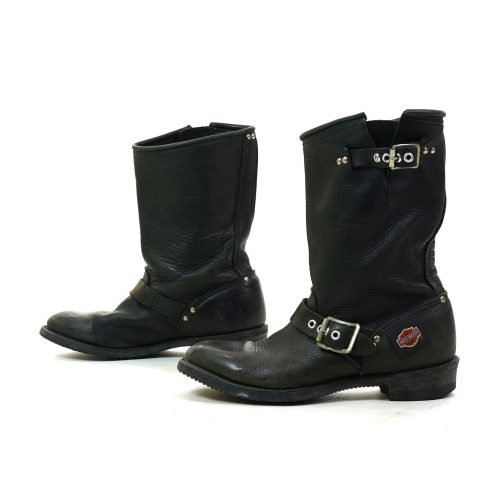 Harley Davidson Black Leather Motorcycle Boots Women's Size 7.5 Vintage 90s