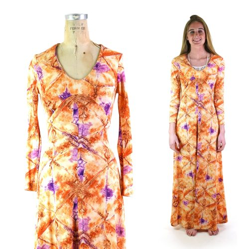 Psychedelic Polyester Print Maxi Dress Vintage 70s XS