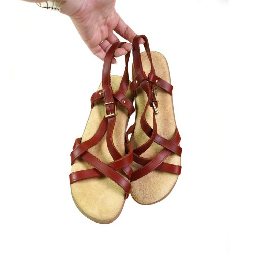 Crisscross Leather Fisherman Sandals with Heel Strap