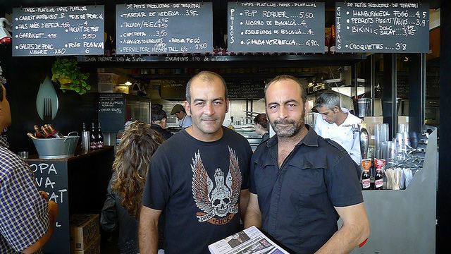Chef Albert Marimon and his brother and business partner Jordi Marimon stand proud in front of Fogo, Barcelona.
