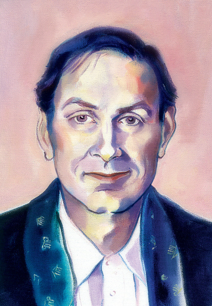 A portrait of James Morris by Canadian Artist/Theatre Designer Christina Poddubiuk portrait, circa 1992. Commissioned for use on the Rundles menu.