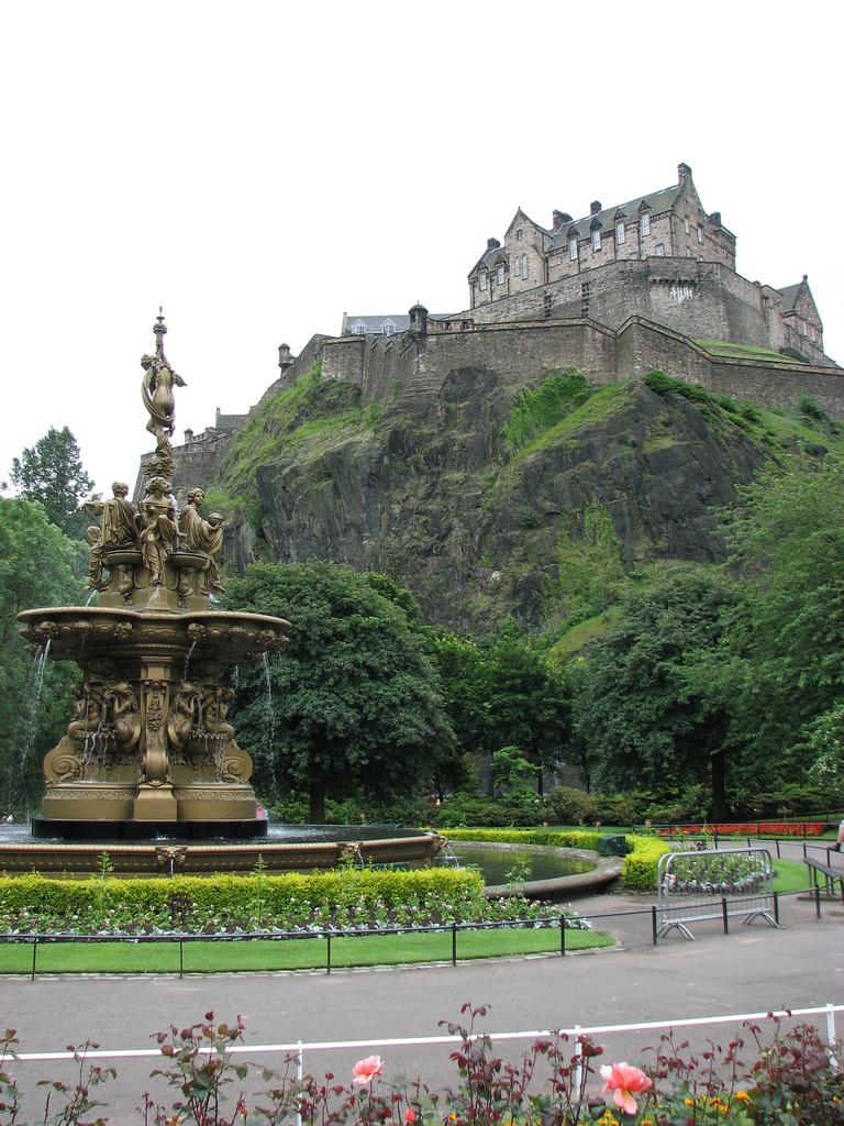 The mighty Edinburgh Castle as seen from Princes Street Gardens.