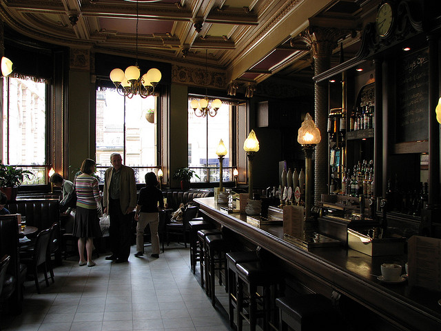 The lovely interior of Edinburgh's Cafe Royal Oyster Bar, and the scene of a famous dispute between my Mum and myself over oysters.