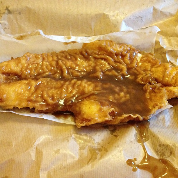 """The traditional Scottish Fish Supper (here we see a """"Single Fish"""") always covered in """"brown"""" sauce if you are on the east coast."""
