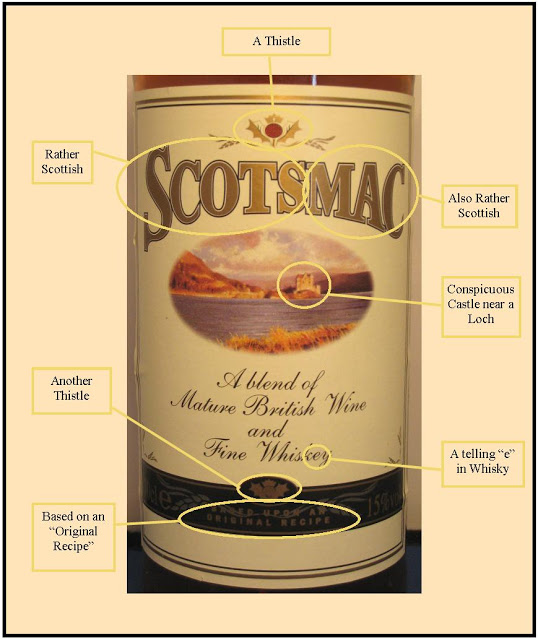 An annotated picture of the Scotsmac label courtesy of The Institute for Alcoholic Experimentation.