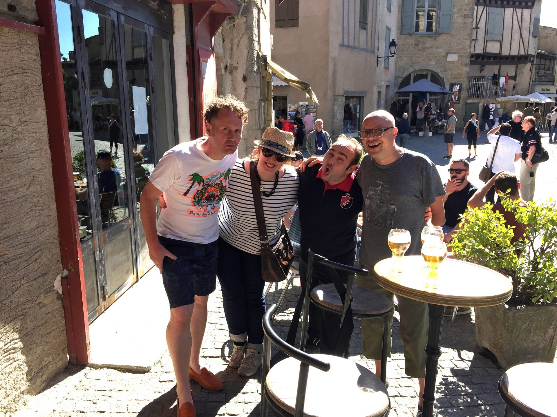 With Lorna Drummond, Greg Bolton, and Carcassone Sommelier Olivier Zavattin, enjoying a few drinks in the old walled city.